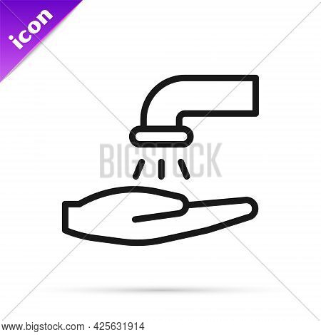 Black Line Washing Hands With Soap Icon Isolated On White Background. Washing Hands With Soap To Pre