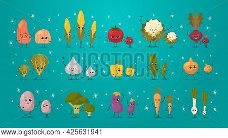 Set Cute Mascot Vegetables Characters Funny Cartoon Personages Collection Healthy Food Concept Horiz