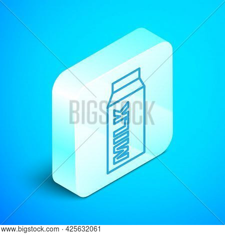 Isometric Line Paper Package For Milk Icon Isolated On Blue Background. Milk Packet Sign. Silver Squ