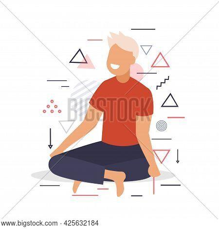 Woman Sitting Lotus Pose Girl Practicing Yoga Asana For Meditation Breathing Exercises Full Length