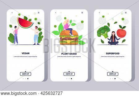 Set People Eating Fruits Vegetables And Plant Based Burger Healthy Lifestyle Vegan Fresh Food Concep