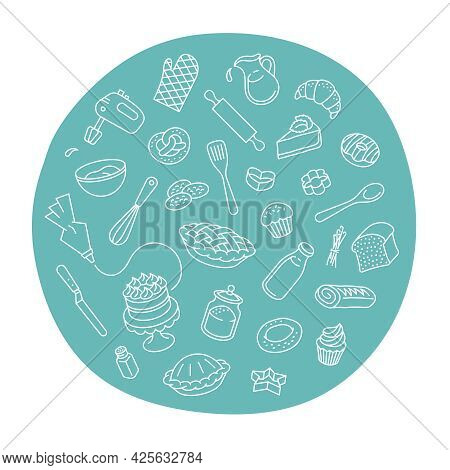 Bakery Products And Baking Tools Linear Label. Round Sticker With Thin Line Icons Of Different Baked