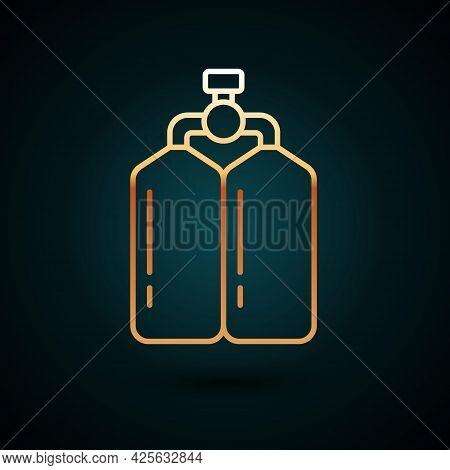 Gold Line Aqualung Icon Isolated On Dark Blue Background. Oxygen Tank For Diver. Diving Equipment. E