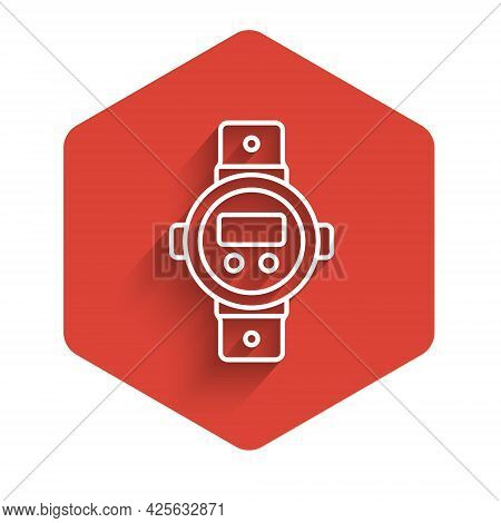 White Line Diving Watch Icon Isolated With Long Shadow. Diving Underwater Equipment. Red Hexagon But