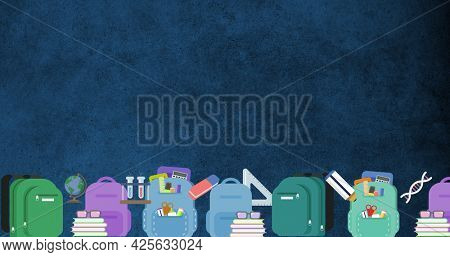 Image of digital multi coloured school rucksacks, stationery and stacks of books moving in formation on blue background. Education and schooling concept digitally generated image.