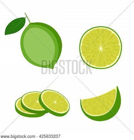 Lime, Whole Fruit, Half And Slices, Vector Illustration