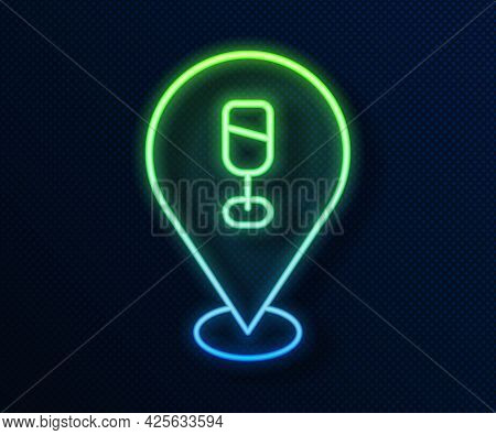 Glowing Neon Line Alcohol Or Beer Bar Location Icon Isolated On Blue Background. Symbol Of Drinking,