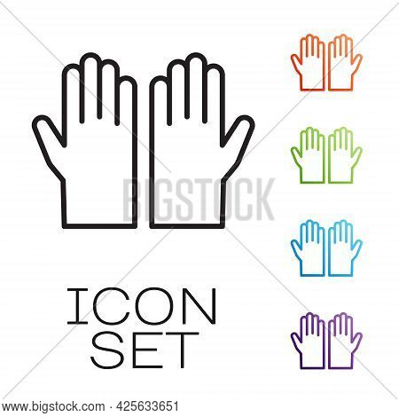 Black Line Medical Rubber Gloves Icon Isolated On White Background. Protective Rubber Gloves. Set Ic