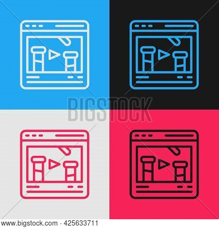 Pop Art Line Chemical Experiment Online Icon Isolated On Color Background. Scientific Experiment In