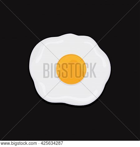 Fried Egg Isolated On Black Background, Breakfast Table Fried Egg Flat Icon, Vector Illustration Of