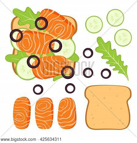 Sandwich With Toast Bread, Salmon Slices, Cucumber, Olive And Arugula, Vector Illustration Of Health
