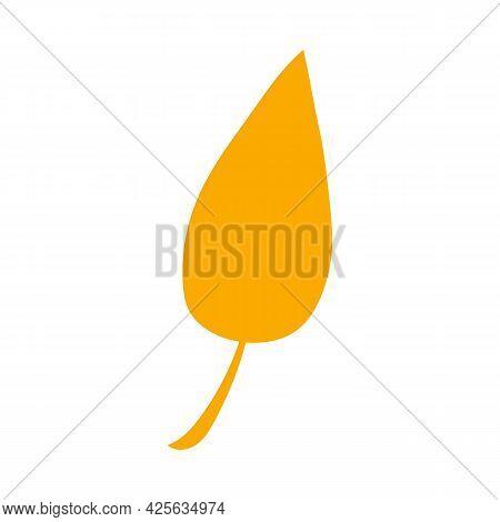 Autumn Botanical Vector Flat Plant Element. Fall Orange Leaf. Simple Autumn Leaf, Herbal Element. Ca