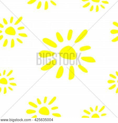 Seamless Pattern Of Yellow Suns, Flowers, Summer Texture, Vector Floral Print. Seamless Baby Yellow