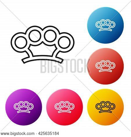 Black Line Brass Knuckles Icon Isolated On White Background. Set Icons Colorful Circle Buttons. Vect