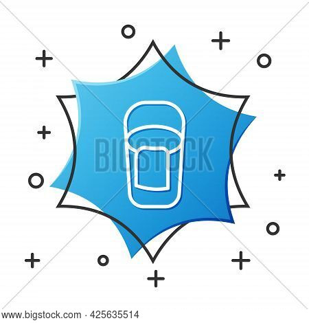 White Line Bucket With Rag Icon Isolated On White Background. Cleaning Service Concept. Blue Hexagon