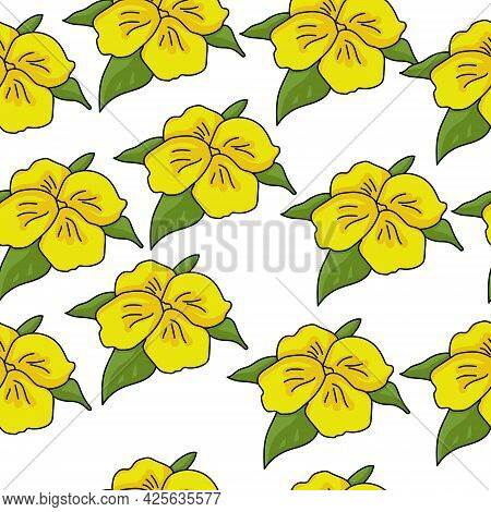 Bright Yellow Flowers Seamless Pattern With Four Petals And Several Leaves, Simple Wildflowers On A