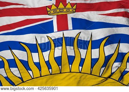 Full Frame Close-up On A Waving Flag Of British Columbia (canada) In 3d Rendering.