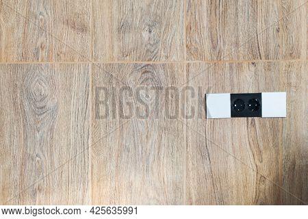 Electrical Socket With  Sliding Lid On  Porcelain Stoneware Kitchen Apron