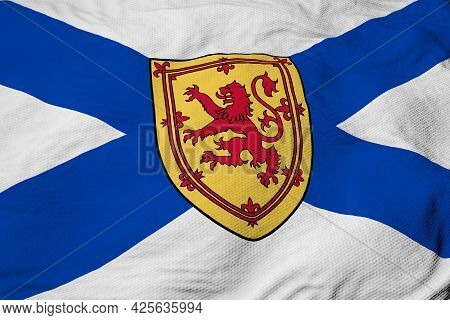 Full Frame Close-up On A Waving Flag Of Nova Scotia (canada) In 3d Rendering.