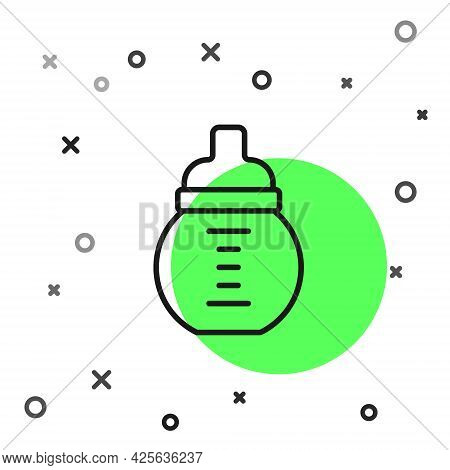 Black Line Baby Milk In A Bottle Icon Isolated On White Background. Feeding Bottle Icon. Vector