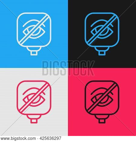 Pop Art Line Blindness Icon Isolated On Color Background. Blind Sign. Vector