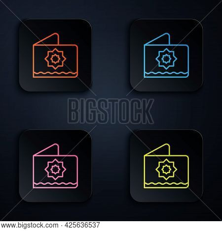 Color Neon Line Islamic Octagonal Star Ornament Icon Isolated On Black Background. Set Icons In Squa