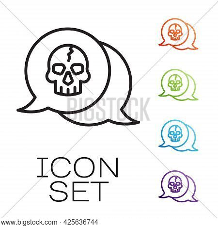 Black Line Skull Icon Isolated On White Background. Pirate Captain. Happy Halloween Party. Set Icons