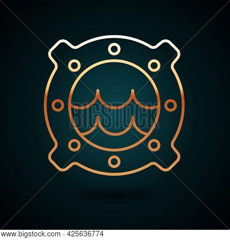 Gold Line Ship Porthole With Rivets And Seascape Outside Icon Isolated On Dark Blue Background. Vect
