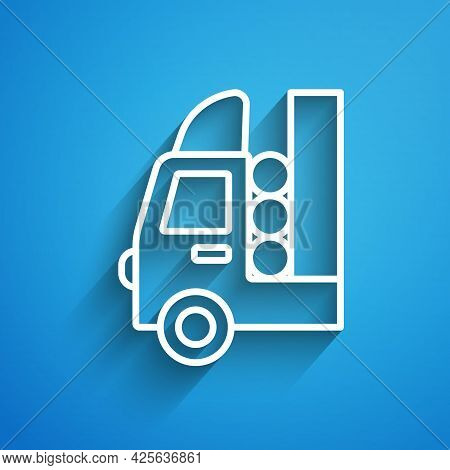 White Line Gas Tank For Vehicle Icon Isolated On Blue Background. Gas Tanks Are Installed In A Car.