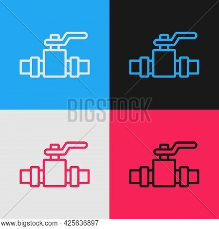 Pop Art Line Industry Metallic Pipes And Valve Icon Isolated On Color Background. Vector