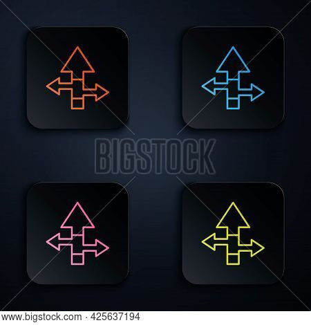Color Neon Line Arrow Icon Isolated On Black Background. Direction Arrowhead Symbol. Navigation Poin