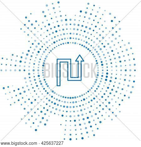 Blue Line Arrow Icon Isolated On White Background. Direction Arrowhead Symbol. Navigation Pointer Si