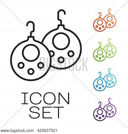 Black Line Earrings Icon Isolated On White Background. Jewelry Accessories. Set Icons Colorful. Vect