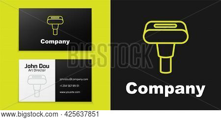 Logotype Line Portable Home And Travel Garment Steamer For Clothes Icon Isolated On Black Background