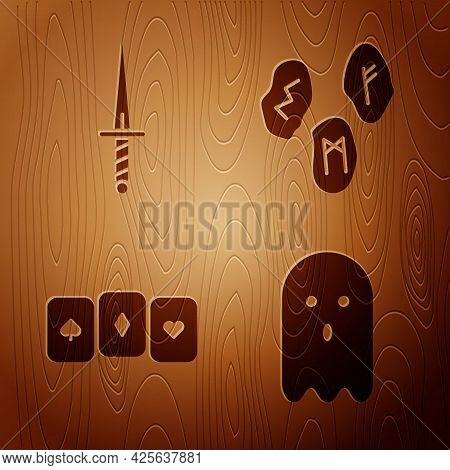 Set Ghost, Dagger, Playing Cards And Magic Runes On Wooden Background. Vector