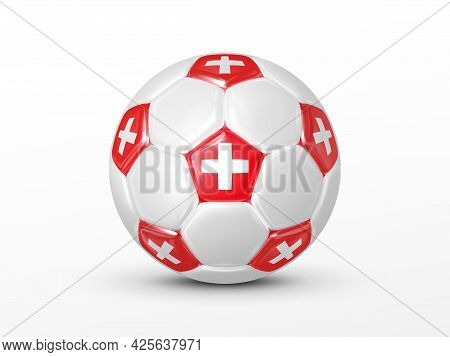 Soccer Ball With The Switzerland National Flag Isolated On White Background. Switzerland National Fo