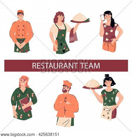 Restaurant Team Characters Half-length Portraits Set, Flat Vector Illustration Isolated On White Bac