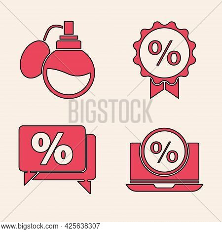 Set Percent Discount And Laptop, Perfume, Discount Percent Tag And Discount Percent Tag Icon. Vector