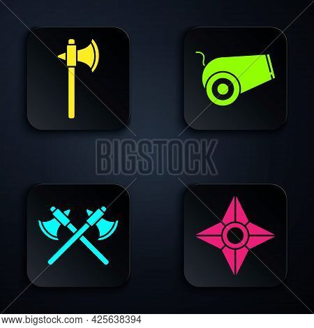 Set Japanese Ninja Shuriken, Medieval Axe, Crossed Medieval Axes And Cannon. Black Square Button. Ve