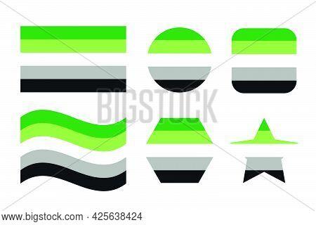 Aromantic Pride Flag Sexual Identity Pride Flag. Simple Illustration For Pride Month