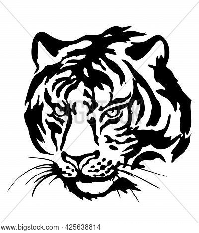 Tiger Head. Black Silhouette Of A Tiger Head Isolated On A White Background.