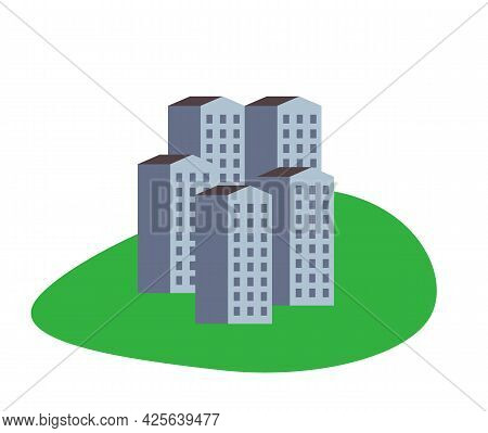 Buildings Icon On Green Geometric Shape Isolated On White Background. Sustainable City Living Concep