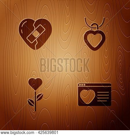 Set Dating App Online, Healed Broken Heart, Heart Shape Flower And Necklace With Shaped On Wooden Ba