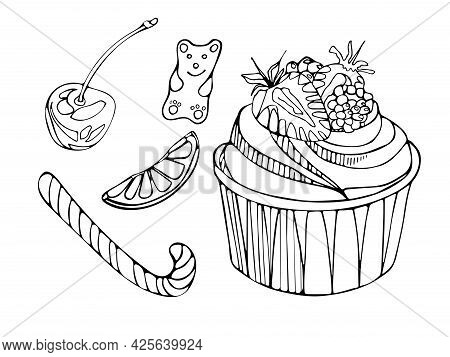 A Set Of Delicious Sweets Cupcake With Strawberries, Gummy Bear, Sugar Cane, Fruits, Cherries. Natio