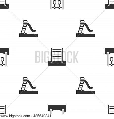 Set Gymnastic Rings, Swedish Wall And Kid Slide On Seamless Pattern. Vector