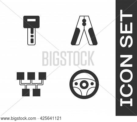 Set Steering Wheel, Car Key With Remote, Gear Shifter And Battery Jumper Power Cable Icon. Vector