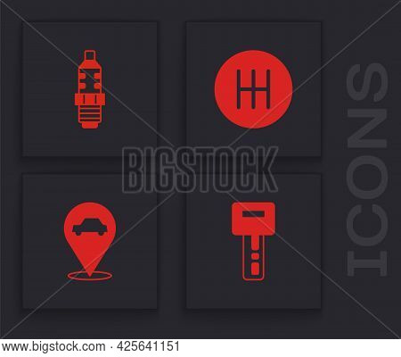 Set Car Key With Remote, Spark Plug, Gear Shifter And Location Car Service Icon. Vector