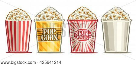Vector Set Of Popcorn Buckets, Decorative Cut Out Illustrations Of Buckets Homemade Salted Popcorn,