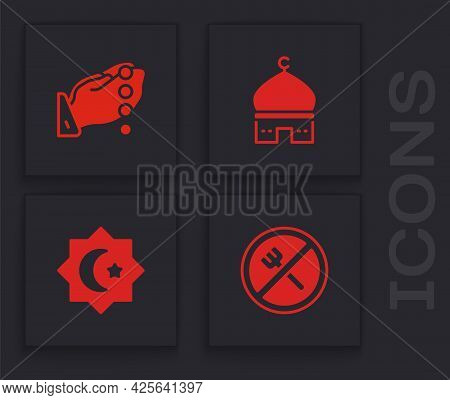 Set Ramadan Fasting, Hands Praying Position, Muslim Mosque And Octagonal Star Icon. Vector