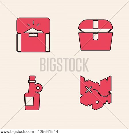 Set Pirate Treasure Map, Antique Chest, And Alcohol Drink Rum Icon. Vector
